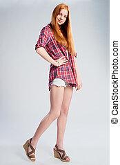 충분한 길이, 아름다운, 털이 있는 빨강, 10대의 소녀