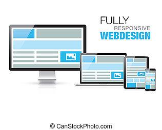충분히, 대답하는, 웹 디자인, 에서, 유행