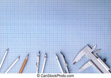 측정 계기, 의 위에, 파랑, 방안지