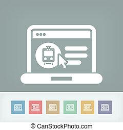 치부, 기차 표, 통하고 있는, 인터넷