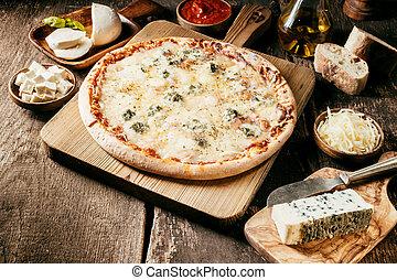 치즈, 이탈리아어, 피자, 4, 성분