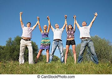 친구의 그룹, 와, rised, 손, 옥외, 에서, 여름