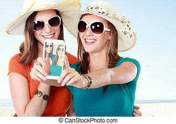친구, 사진을 찍는 것, 와, a, smartphone