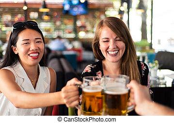 친구, 술을 마시는 것, 맥주, 에서, 그만큼, 막대기