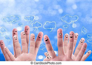 친목회, 네트워크, 개념, 의, 행복하다, 그룹, 의, 손가락, 얼굴, 와, 연설, 거품