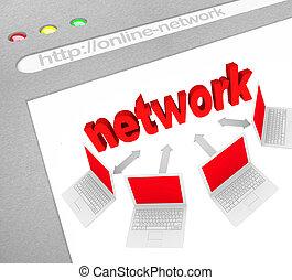 친목회, 네트워크, 통하고 있는, 온라인의, 웹사이트, 스크린 발사