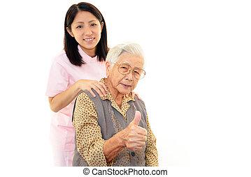 친절한, 간호사, 와, 나이가 지긋한 여성