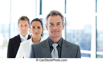 친절한, 실업가, 지도, a, 비즈니스 팀