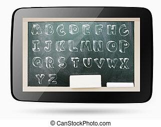 칠판, 내부, 컴퓨터, 정제, 와, sketchy, 분필, 수도, 알파벳