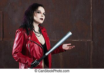 침략적인, 뒤떨어진, 여자, 와, a, 배트, 에서, 빨강, 가죽 재킷