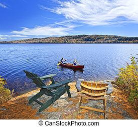 카누를 젓는, 통하고 있는, 호수
