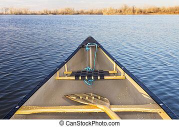 카누, 활, 통하고 있는, 호수