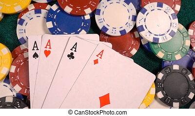 카드, 돈, 포커 칩, 노름하는