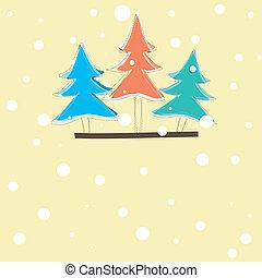 카드, 벡터, 나무, 크리스마스, 삽화