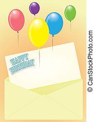 카드, 벡터, 인사, 생일, 행복하다