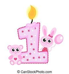 카드, 생일 축하합니다, 고립된, 동물, 핑크, 처음, white., 양초