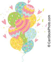 카드, 생일, balloons., 배경, 행복하다