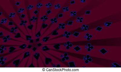 카드, 옷, retro, 노름하는, 생명을 불어 넣어진다, 배경, 에서, 심홍색, 파랑, 와..., 검정,...
