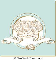 카드, 와, 바구니, 의, 장미, 에서, 파랑, 구조