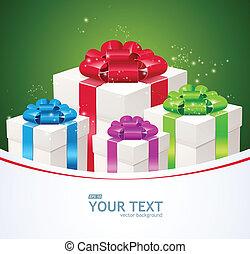 카드, 인사, 선물, boxes.
