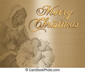 카드, 크리스마스, 수도자, 출생