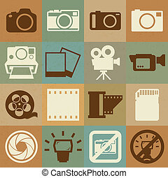 카메라, 와..., 비디오, retro, 아이콘, 세트