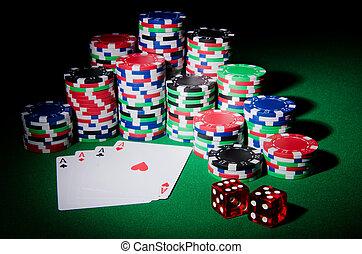 카지노, 개념, 와, 칩, 와..., 카드