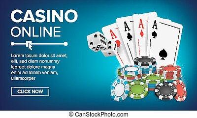 카지노, 포커, 디자인, vector., 성공, 승리자, 왕다운, 카지노, poster., 포커, 카드, 칩, 노는 것, 노름하는, 카드., 실감나는, 삽화