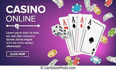 카지노, 포커, 디자인, vector., 온라인의, 카지노, 운이 좋은, 배경, concept., 포커, 카드, 칩, 노는 것, 노름하는, 카드., 실감나는, 삽화