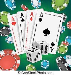 카지노, 포커, 디자인, vector., 포커, 카드, 노는 것, 노름하는, 카드., 포커, 카드, 칩, 노는 것, 노름하는, 카드., 온라인의, 카지노, 운이 좋은, 배경, concept., 실감나는, 삽화
