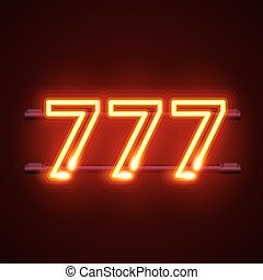 카지노, 777, 네온, 간판, 승리자, 삼배으로 하다, sevens.