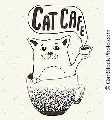 커피, 고양이, 컵