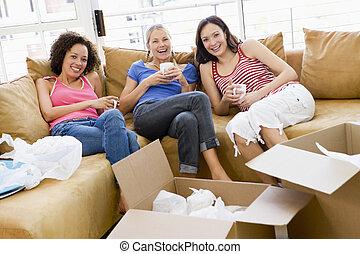 커피, 몸을 나른하게 하는, 3, 상자, 새로운 가정, 미소, 친구, 소녀