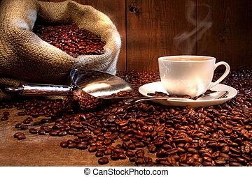 커피, 올이 굵은 삼베, 컵, 자루, 콩, 불에 굽