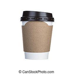 커피 컵, 고립된, 종이, 배경, 백색