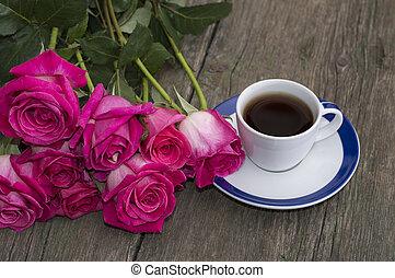 커피 컵, 꽃다발, 크게, 장미, 검정
