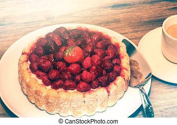 커피 컵, 나무딸기, 생일 케이크, 신선한