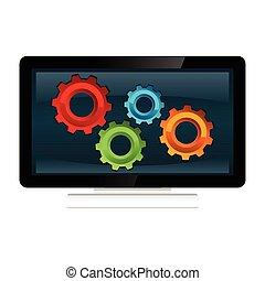 컴퓨터, 과정, 체계, 개념, illustration.