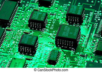 컴퓨터, 빛, 트랜지스터, infromation, 녹색, 판자, 기술