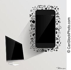 컴퓨터, 전시, 와..., touchscreen, 장치, 와, 신청, icon., 벡터, illustration.