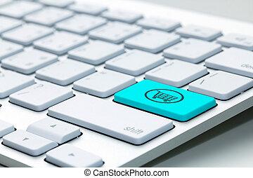 컴퓨터 키보드, 와, 쇼핑, 열쇠, -, 인터넷, 개념