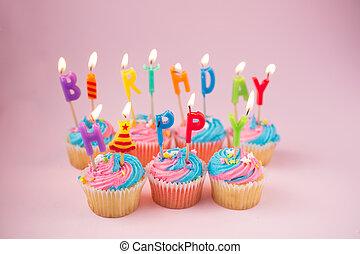 컵케이크, 생일 초, 행복하다