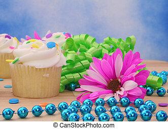 컵케이크, 와, 꽃