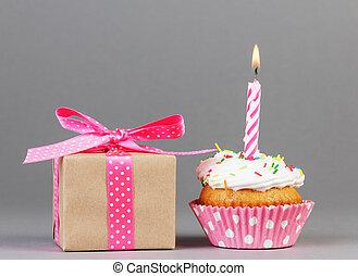 컵케이크, 와, 선물 상자