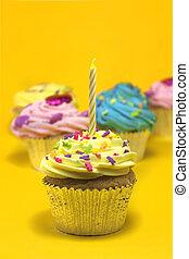 컵케이크, 통하고 있는, 황색