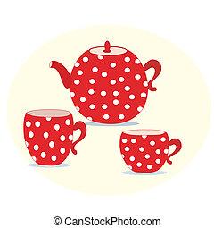 컵, 세트, 빨강, 찻주전자, 폴카