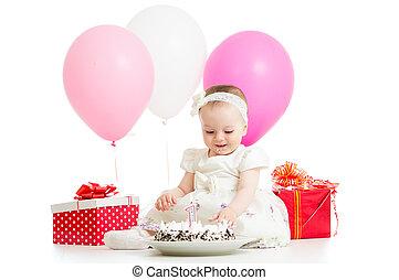 케이크, 갓난 여자 아기, birhtday, 처음