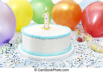 케이크, 경축하는, 아이 생일, 처음