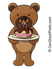 케이크, 귀여운, 생일, 곰