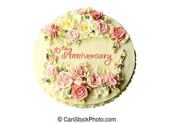 케이크, 기념일, 10, 년